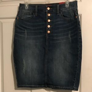 Guess distressed jean skirt